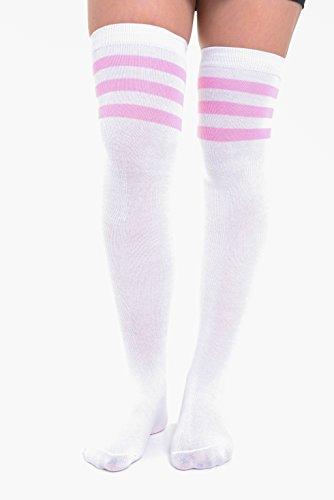 y para largos Calcetines mujer rosa talla 6 Eesa en con suaves 4 3 colores y Adam blanco rayas 12 FTXxqw