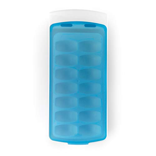 OXO Good Grips No-Spill Ice Cube Tray with Silicone Lid, 8.8 oz., White/Blue (Best Small Upright Freezer Canada)