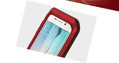 S6 Edge Case,3C-Aone Love Mei Note Edge Case,Shockproof Aluminum Metal Protection Case Cover for Samsung Galaxy S6 Edge (Red)