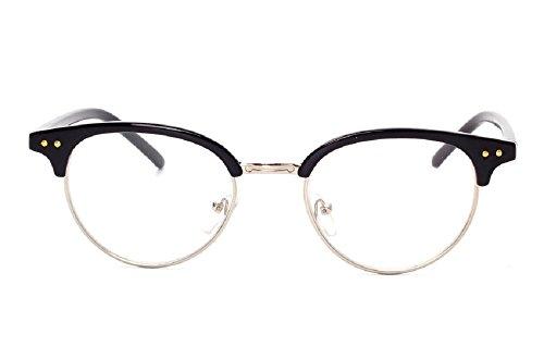Unisex JTS1813 Plastic Half-frame Metal Rim Studded Browline Eyeglasses (Gloss black, - Glasses Browline Frames