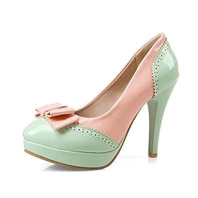 BalaMasa Womens APL12096 Bows Low-Top Comfort Green Pu Platform Heels - 2 UK (Lable:33)