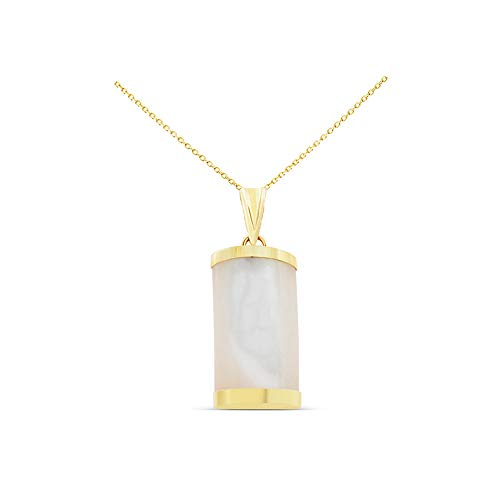 14K Yellow Gold Genuine Natural White Mother of Pearl Rectangular Curved Pendant With Square Rolo - Pendant Mother Square Of Pearl