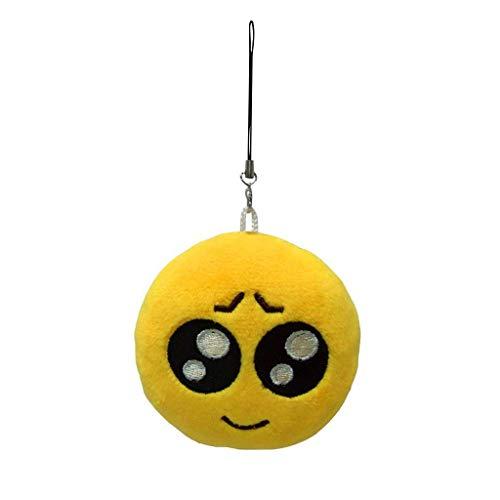 NATFUR Round Plush Emoji Pendant Key Chain Strap Stylish Bag Decoration Assorted Design Elegant Pretty Novelty for Women Holder Perfect for Gift | Model - Cute Face