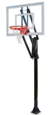 最初チームベクトルii-bp steel-acrylic in ground調整可能バスケットボールsystem44、ブラック B01HC0DAAW