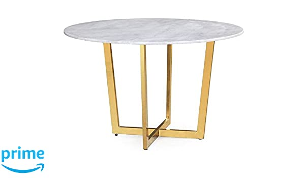 Attirant Amazon.com   TOV Furniture The Maxim Collection Modern Style Round Marble  Top Dining Table With Gold Base, White   Tables
