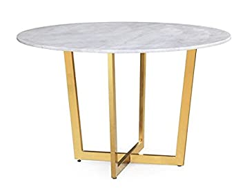 TOV Furniture The Maxim Collection Modern Style Round Marble Top Dining  Table With Gold Base,