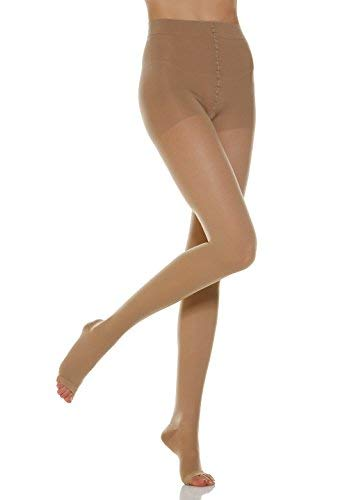 Alpha Medical 20-30 mmHg Compression Pantyhose w/Open Toe, Graduated Compression & Support Hosiery