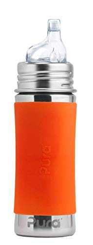 Pura Kiki 11 oz / 325 ml Stainless Steel Sippy Cup with Silicone XL Sipper Spout & Sleeve, Orange (Plastic Free, NonToxic Certified, BPA Free)