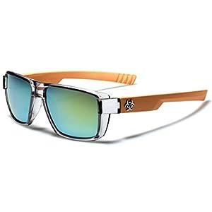 Flat Top Men's Women's Square Sport Sunglasses with Translucent 2 Tone Frame