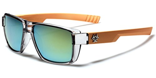 Flat Top Men's Women's Square Sport Sunglasses with Translucent 2 Tone - Biohazard Sunglasses