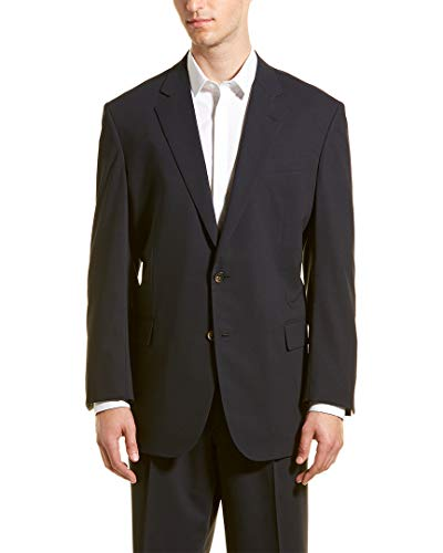 (Brooks Brothers Mens Wool-Blend Suit with Pleated Pant, 42R, Blue)