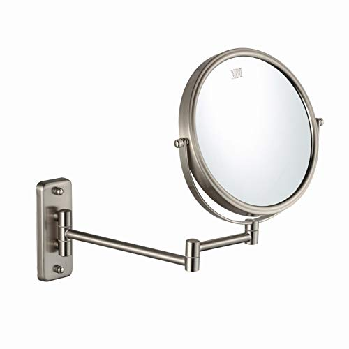Makeup 10x Mirror (Wall Mounted Makeup Mirror - 10x Magnification 8'' Two-Sided Swivel Extendable Bathroom Mirror Nickel Finish ALHAKIN)