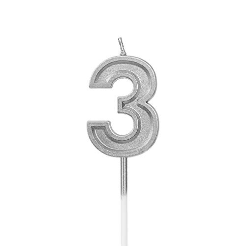 LUTER Silver Glitter Happy Birthday Cake Candles Number Candles Number 3 Birthday Candle Cake Topper Decoration for Party Kids Adults (Number 3)