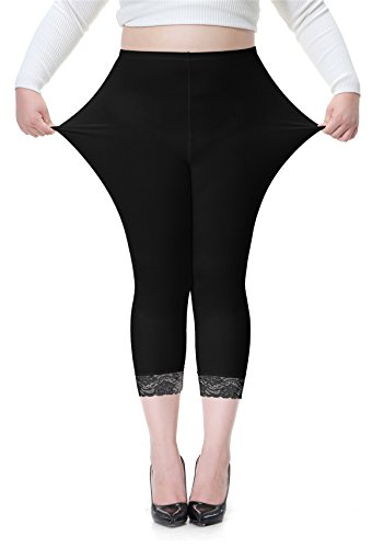 Cheapestbuy Women's Plus Size Lace Trim Soft Modal Cotton Leggings Workout Tights Pants Cropped Length ()