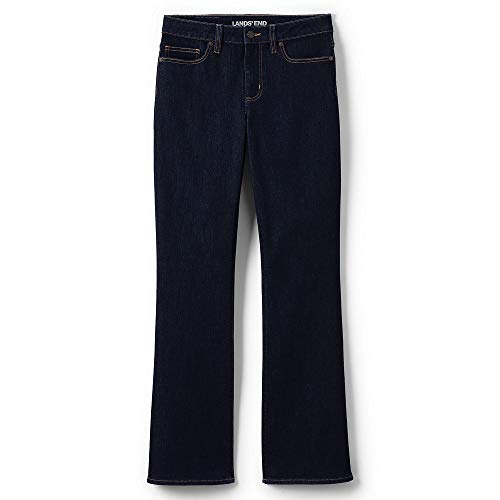 Lands' End Women's Mid Rise Boot Cut Blue Jeans, 6 32, Deepest Indigo -