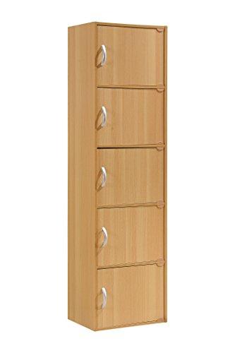 Hodedah 5 Door, Five Shleves, Enclosed Storage Cabinet, Beech