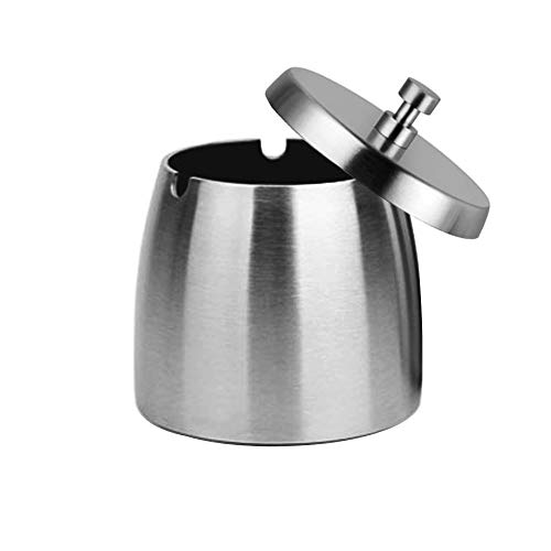 OILP Outdoor Ashtray with Lid for Cigarettes,Stainless Steel Windproof/Rainproof Ashtray for Outside Home Table (Small)
