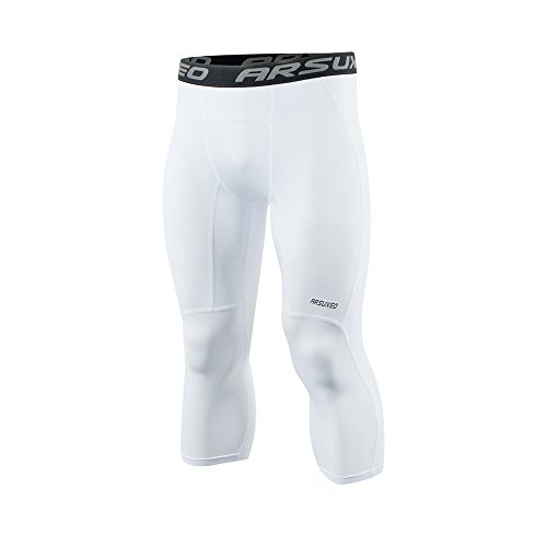 ARSUXEO Men's 3/4 Running Compression Tights Capri Pants K75 White Size Large