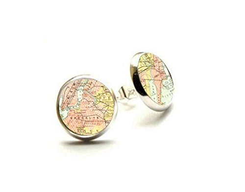 New York City - Map Earrings - Map Jewelry - Hypoallergenic Earrings (Halloween Costume Store In Nyc)
