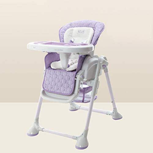 Dsrgwe Folding High Chair, 2-in-1 Toddler Portable Foldable Highchair Baby Feeding Multifunction Cradle Lounger with 4 Wheels && Safety Harness and Removable Tray (Color : B)