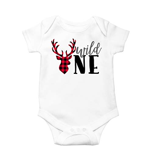 - Wild One Birthday Outfit Boy Buffalo Plaid 1st Birthday Wild One Deer Bodysuit 6-12 Months