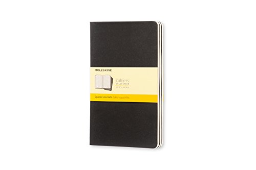 Moleskine Cahier Journal, Soft Cover, Large (5' x 8.25') Squared/Grid, Black (Set of 3)
