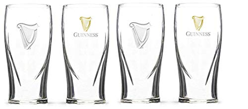 Guinness Gravity 20 Ounce Embossed Pint Beer Glasses 14K Gold Harp Logo / 4 Pack