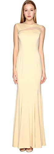 MACloth Formal Gown Simple Sheath Dress Jersey Party Cut Prom out Elfenbein Evening r0rwZqpR