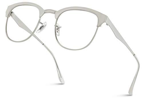 (WearMe Pro - Metal Frame Modern Clear Lens Glasses (Silver, 50))