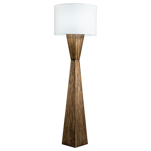 - Modern Home Espresso Geometric Wood Floor Lamp w/Natural Jute Shade