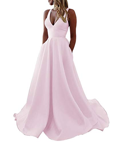 Ruffle V-neck Court Train - Meaningful Women's Long Satin V Neck Court Train Prom Homecoming Dresses Evening Party Ball Gowns with Pockets Pink US26