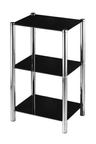 Premier Housewares - Estanteria con 3 estantes de Cristal (70 x 41 x 31 cm), Color Negro y Cromo