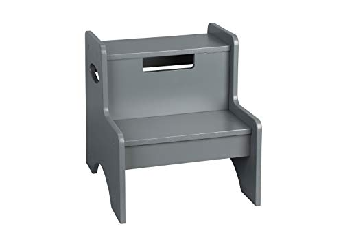 Wildkin Two-Step Stool, Wooden Step Stool Kids Adults, Home Office, 14-inches High, Ages 3+ (Gray)