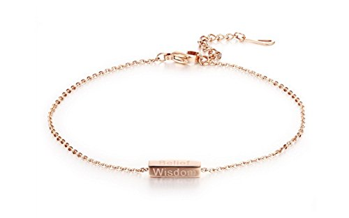 Stainless Steel Heart and Rose Charmed Anklet (Gold) - 6