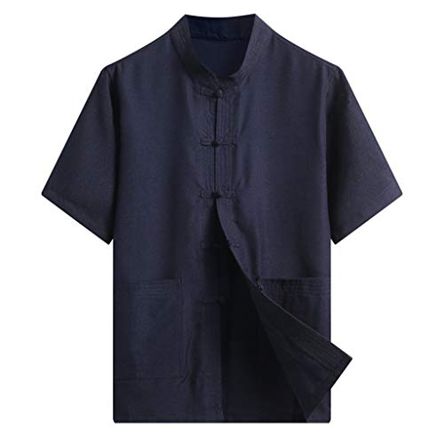 LEKODE Men T-Shirt Fashion Summer Solid Tee Cotton Linen Short Sleeve Cardigan Top(Navy,M)]()