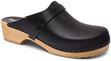 Sandgrens Swedish Wooden Clogs for Men with Leather Upper   Malmö