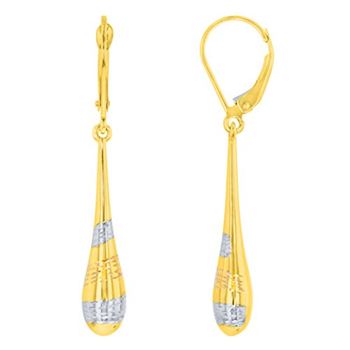 14k Yellow Gold Tri-Color Teardrop Dangle Drop Earrings, 6mm by Jewelry America