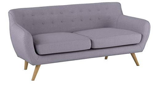 Mid-Century Modern Linen Fabric Sofa, Loveseat in Colors Light Grey, Polo Blue,...
