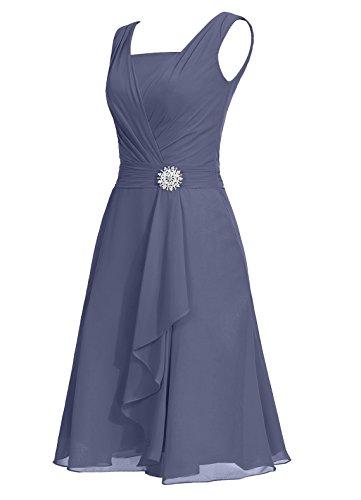 Dresstells®Vestido De Madrina Elegante Corto Sin Mangas De Gasa Para Fiesta Azul Oscuro