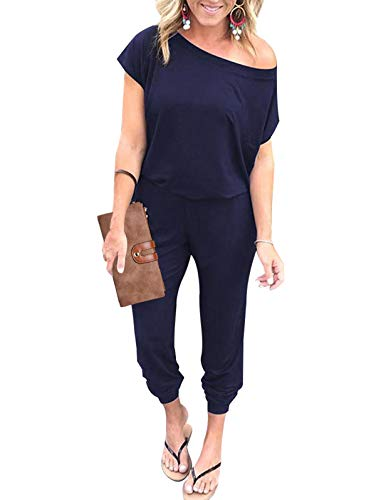 Adibosy Women Summer Off Shoulder Jumpsuits Elastic Waist Beam Foot Onepiece Pants Rompers with Pockets Long Navy Blue M
