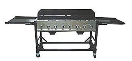 Beau Commercial LP Gas Portable 8 Burner Event BBQ Grill W/ PVC Fitted Cover