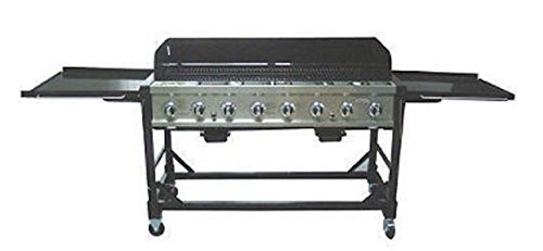 RANKAM Commercial LP Gas Portable 8-Burner Event BBQ Grill w/PVC Fitted Cover