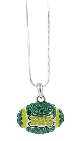 Dome Football Rhinestone Pendant Necklace - Dark Green Crystal and Gold Enamel (Green And Gold Baseball Necklace)