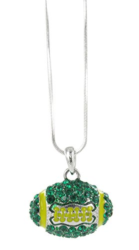 Dome Football Rhinestone Pendant Necklace - Dark Green Crystal and Gold Enamel