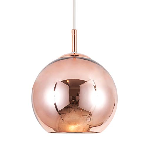 Mzithern Modern Mini Globe Pendant Lighting with Handblown Clear Glass, Adjustable Mirror Ball Pendant Ligh for Living Room Kitchen Island Restaurants Bar Cafe, Polished Rose Gold Finish, 10 inches