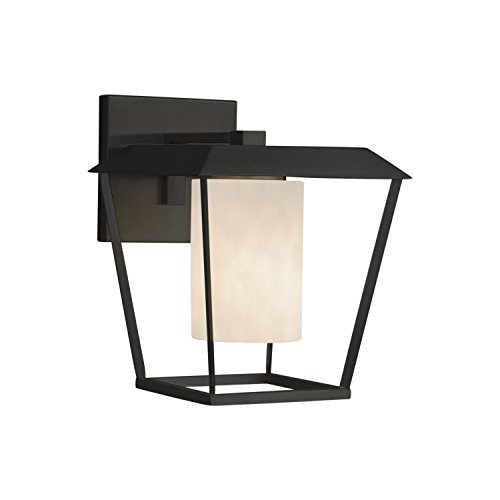 (Clouds - Patina Large 1-Light Outdoor Wall Sconce - Cylinder with Flat Rim Clouds Shade - Matte Black Finish)