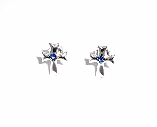 Sterling Silver Cross Earrings w/ Sapphire Swarovski Crystal