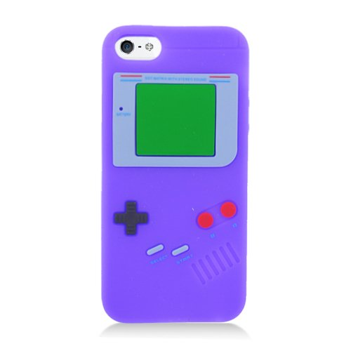 Eagle Cell Game Boy Pattern Skin Case for iPhone 5/5S - Retail Packaging - Purple (Iphone 5 Cases Gameboy)