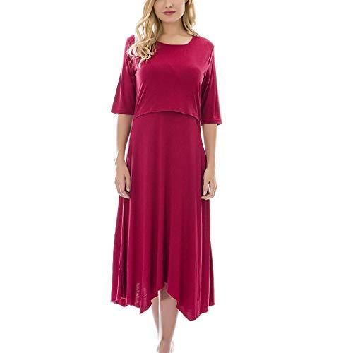 (Womens Maternity Nursing Dress Pregnancy Half Sleeve Pockets Swing T-Shirt Dresses for Breastfeeding (M, Red))