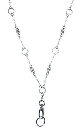 Hidden Hollow Beads Strong Stainless Steel Lanyard (Delicate Shapes Non Breakaway (Steel Badge)